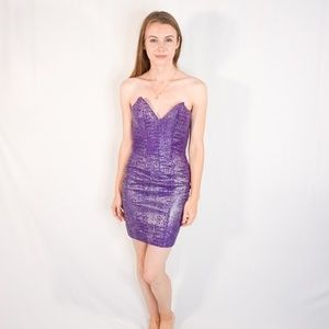 VINTAGE Tannery West 80s Leather Mini Dress Purple